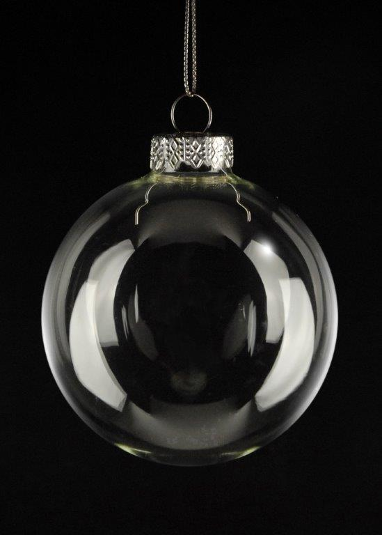 4 Clear Glass 3.25in Ornament Balls