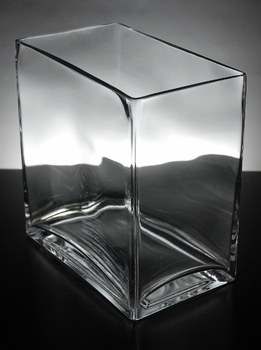 "8"" Clear Glass Square Vases"