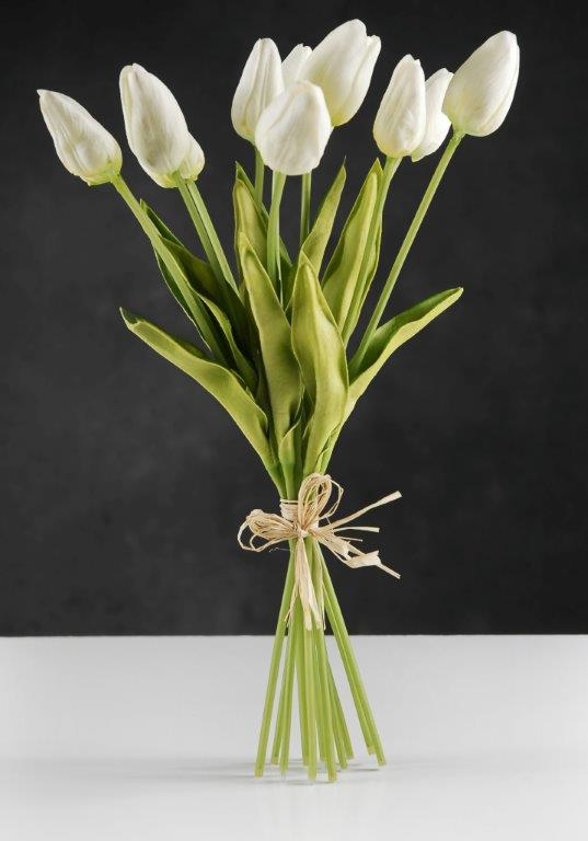 Real Touch Silk Flower Mini White Tulip Bouquet