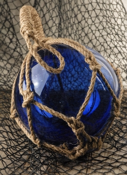 Blue Glass Fishing Float 9in w/ Rope Lanyard