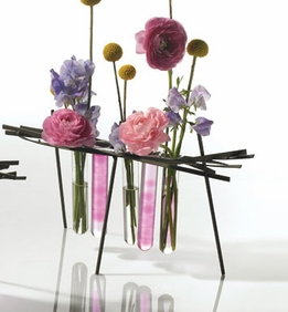 Metal Stand with Bud Vases
