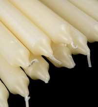"Altar & Formal Taper Candles 10"" Ivory Cotton Wicks 8 hr. (10 candles/box)"