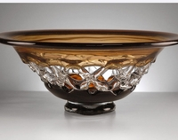 Amber Glass Lace Bowl
