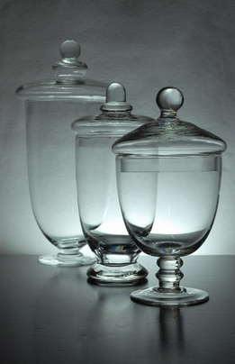 "Apothecary Jars (Set of 3) Glass 10-3/8"" - 8"" - 7-1/2"""