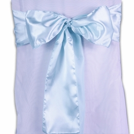 Aqua Blue Satin Chair Sashes (Pack of 10)