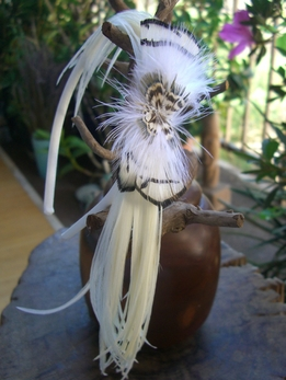 Aspen Feather Headband Off White Rooster with Black Accents