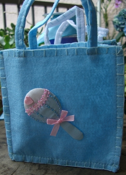 "Baby Shower Favor Bars, 6"" Blue Felt Baby Rattle Applique"