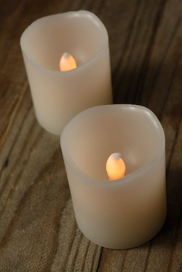 "Battery Candles 2.5"" Pillar Flickering Bisque Cream White (2 candles)"