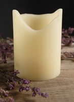 Battery Operated LED Candle Cream Pillar with Melted Wax Edge 3in x 4in