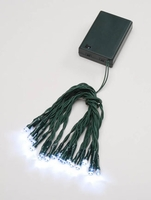 Battery Operated Lights LED 20 White Lights Green Wire