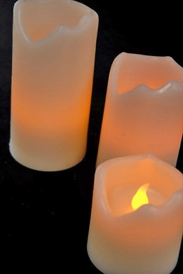 "Battery Operated Melted Edge Candles LED White Wax Candles (Set of 3) 4""-3""-2"""