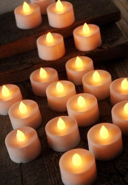 Battery Operated Tealights Candles White LED (12 candles)