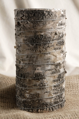 Birch Bark Cylinder Vase 9in