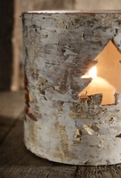 Birch Bark Candle Holders with Cut Out Tree