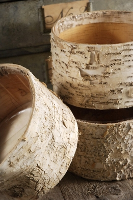 Birch Bark Pots Round 7.5 x 4""