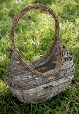Birch Basket with Liner 12in