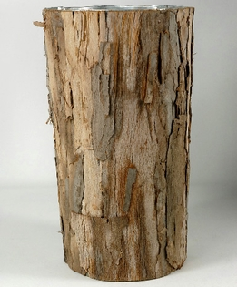 "Birch Vases Bark Covered 10"" Zinc Vase"