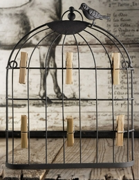 Bird Cage Photo And Card Holder 12.5in