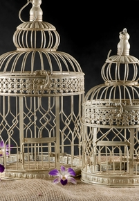 Cream White Round Bird Cages (Set of 2)
