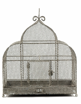 "Bird Cages Large 17"" x 17"" Metal Cage French Flea Market"