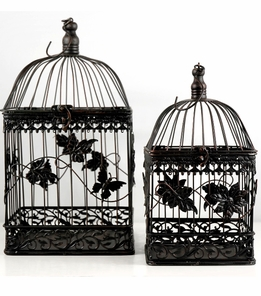Birdcages With Maple Leaf and Butterfly Motif Black 16.5in and 13in (Set of 2)