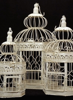 Cream White Bird Cages (Set of 3)