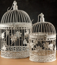 Round White Bird Cages (Set of 2)