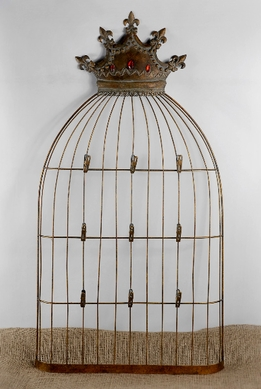 Crown Topped Birdcage Card Holder 38in