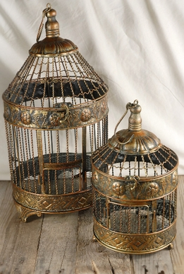 Round Brass Bird Cages (Set of 2)