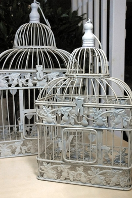 "Birdcages Wedding White (set of 2) 19""&15"""
