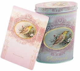 Birds & Bloom Post Card Tin (6 Designs/18 Cards)