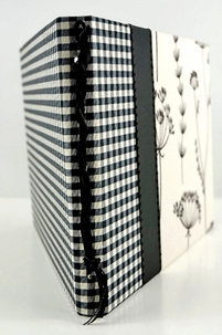Black and Ecru Gingham & Beaded Taffeta Jackie O Guest Book
