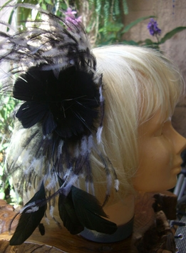 "Black and White 10"" Ostrich Double Flower Fascinator"
