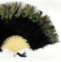 "Black Marabou & Peacock (natural feathers) 27"" Large Fan"
