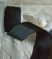 "Black Taffeta French Wired Ribbon 1.5"" width 9 yards"