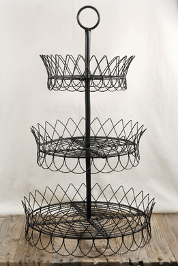Black Wire 3-Tier Pastry Tray 30in