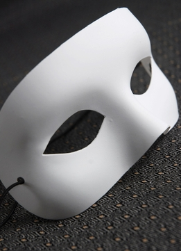 Blank Half Masks White Adult Primed