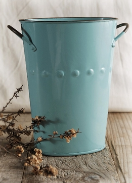 Blue Enamel Flower Market Bucket