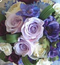 Blue, lavender, teal & purple flowers, favors, ribbon