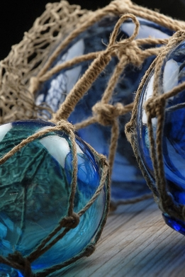 Blue Nautical Glass Floats with Rope Lanyards ( Set of Three )