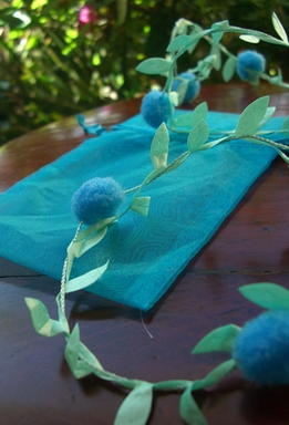 Blue Pom Pom Garland with Satin Leaves Wired 11 yards
