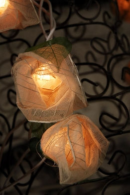 Rose String Lights with Bhodi Leaves | Natural