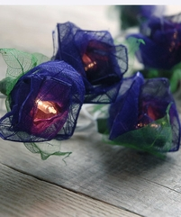 Rose String Lights with Bhodi Leaves | Purple