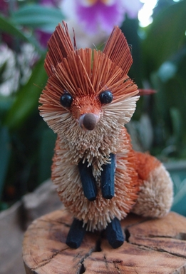 Bottle Brush Fox Ornament