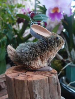 Bottle Brush Handmade Grey Rabbit Ornament