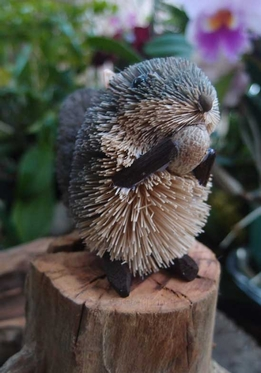 Bottle Brush Handmade Grey Squirrel Ornament