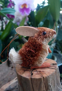 Bottle Brush Handmade Orange Rabbit Ornament