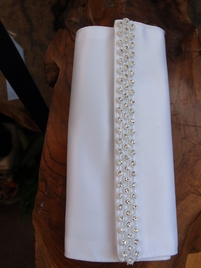 Bouquet Wrap Rhinestone Trim White Satin