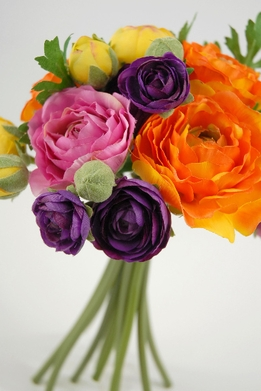 "Bouquets 9"" Ranunculus Purple & Orange Clutch Style"