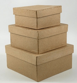 Boxes Paper Mache Square (3 pieces) 4-5-6""